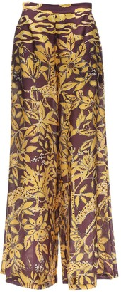 L'Autre Chose High Waist Printed Crepe Wide Leg Pants