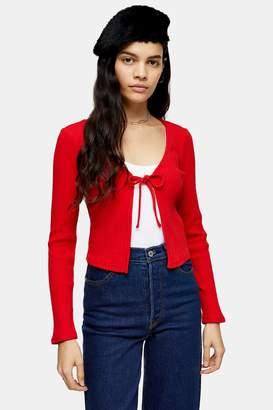Topshop Red Tie Front Cardigan