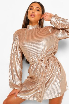 boohoo Sequin High Neck Belted Skater Dress