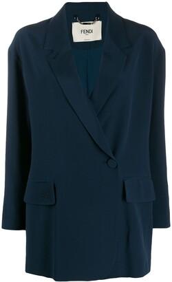 Fendi Silk Off-Centred Buttoned Blazer