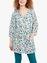 Seasalt Aventurier 3/4 Sleeve Floral Print Tunic Top, Pastel Foliage Chalk
