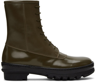 LEGRES Khaki Leather Rain Boots