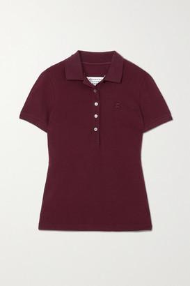 Maison Margiela Embroidered Cotton-pique Polo Shirt - Burgundy