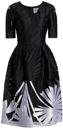 Carolina Herrera V-Neck Floral Silk-Blend A-Line Dress