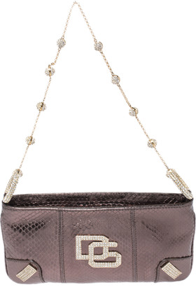 Dolce & Gabbana Metallic Brown Snakeskin Effect Leather Crystal Chain Pochette