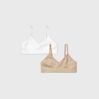 Cat & Jack Girl' eamle Bra 2pk - Cat & JackTM White/Tan