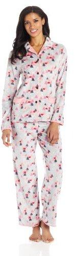 Cuddl Duds Women's Cabin Craft Micro Fleece Pajama Set