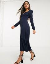 Liquorish milkmaid dress with puff sleeves