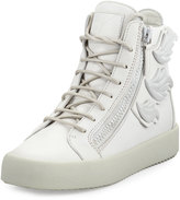 Giuseppe Zanotti Cruel Wing-Side Leather Sneaker, Gray