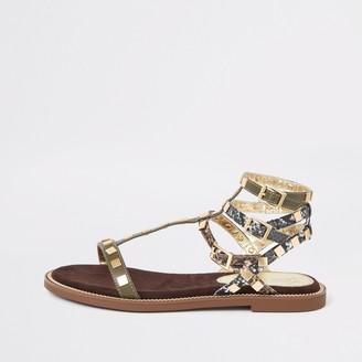 River Island Womens Khaki stud gladiator sandals