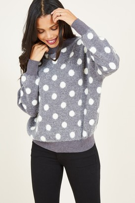 Yumi Grey Polka Dot Jumper