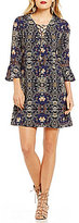 Jessica Simpson Printed Lace-Up Neck Bell Sleeve Shift Dress