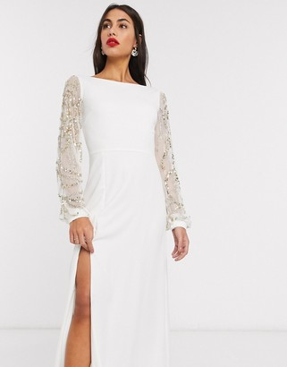 Virgos Lounge sheer long sleeve maxi dress with thigh split in cream