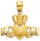 14k Gold Charm, Claddagh and Textured Crown Charm