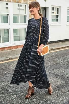 Next Womens Navy Spot Asymmetrical Midi Dress - Blue