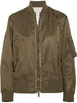 Valentino Rockstud Satin Bomber Jacket - Army green