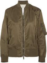 Valentino The Rockstud Satin Bomber Jacket - Army green