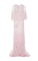 Monique Lhuillier Embroidered Gown with Cascading Ostrich Feathers