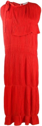 Jil Sander Plisse Caplet Silk Shift Dress