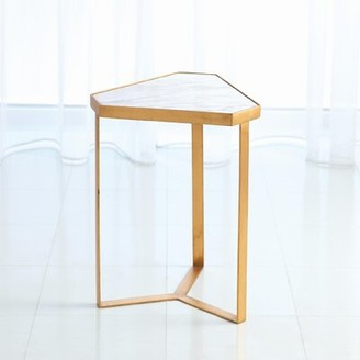 Global Views Tri-Hex Marble End Table