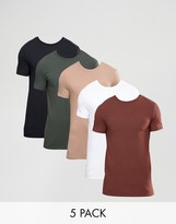 Asos 5 Pack Longline Muscle T-Shirt SAVE
