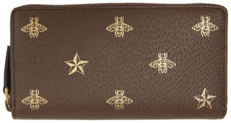 Gucci Brown Bee Star Zip Around Wallet