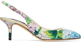 Dolce & Gabbana Floral-print Glossed-leather Slingback Pumps - Blue