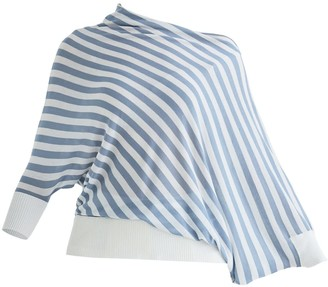 Paisie Minnis Draped Top In Light Blue & White