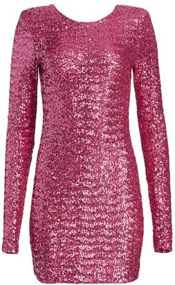 Andamane Brianna Padded Shoulder Sequin Sheath Dress