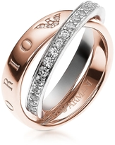 Emporio Armani Heritage Rose Goldtone Double Ring w/Crystals