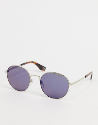 Marc Jacobs round sunglasses in silver with blue lens