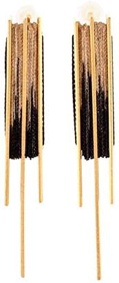 Michal Tahalev Women's Gold Plated M Stripe Black Fabric Threads Stud Earrings