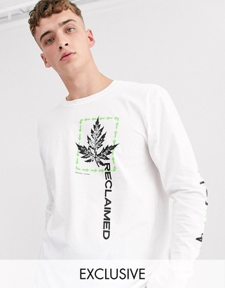 Reclaimed Vintage oversized long sleeve t-shirt in white with print