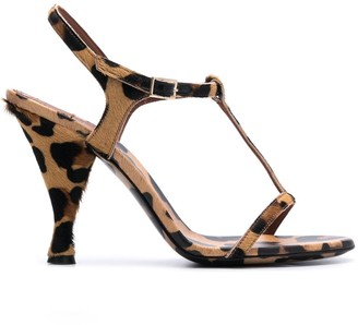 L'Autre Chose Leopard-Print 105mm Sandals