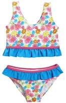 Playshoes Girl's Blumenmeer mit UV-Schutz Bikini, Multicoloured (pink)