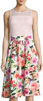 Neiman Marcus Lace-Bodice Floral-Print Dress
