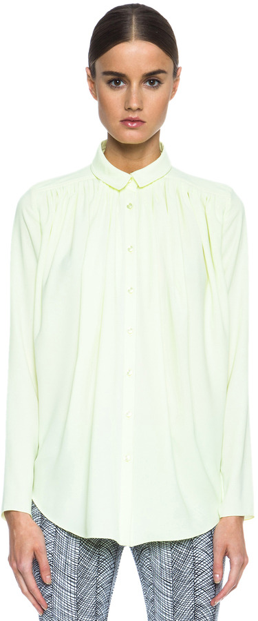 Kenzo Graphic Curtain Drape Poly Blouse in Yellow