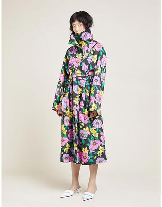 Balenciaga Floral-pattern cotton-drill coat