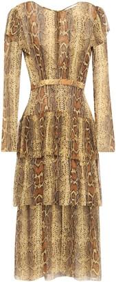 Zimmermann Layered Tiered Snake-print Silk-crepon Midi Dress