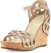 Adrienne Vittadini Chavi Cork Wrapped Wedge Sandal, Taupe