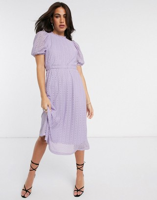 Y.A.S lace midi dress with puff sleeves in lilac
