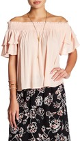 Angie Double Ruffle Smocked Off-the-Shoulder Shirt