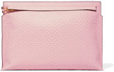 Loewe T Embossed Leather Clutch - Pink