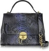 Ghibli Dark Blue Python Satchel Bag w/Detachable Shoulder Strap