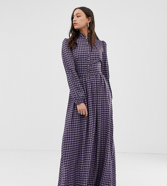 Glamorous Tall maxi dress with high neck in mini check-Purple