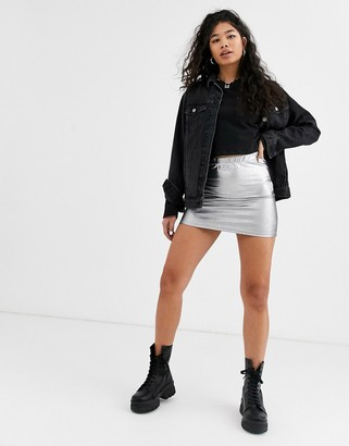 Noisy May metallic silver mini skirt