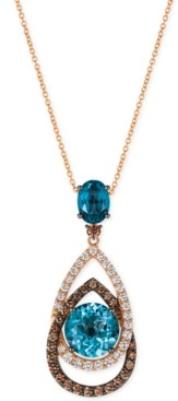 LeVian Le Vian Chocolatier London Blue Topaz (5-1/2 ct. t.w.) and Diamond (1-1/10 ct. t.w.) Interlocking Teardrop Pendant Necklace in 14k Rose Gold, Created for Macy's