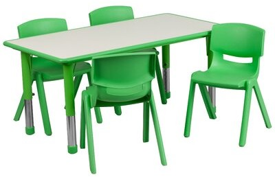 """Thumbnail for your product : Flash Furniture 5 Piece Rectangle Activity Table & 10.5"""" Chair Set Side Finish: Green"""