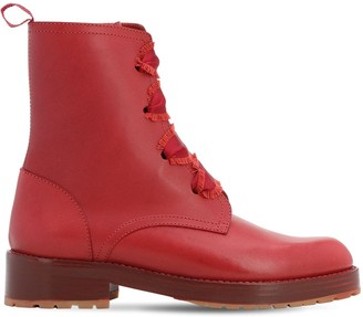 RED Valentino 30MM COMBALLET LEATHER ANKLE BOOTS