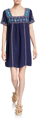 Johnny Was Amaris Tulum Square-Neck Short-Sleeve Linen Shift Dress